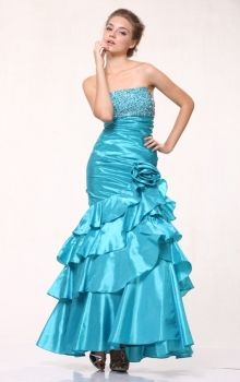 Blue Mermaid/Trumpet Strapless Dropped Long/Floor-length Sleeveless Beading,Flower(s),Sequins,Tiered Taffeta Prom Dresses Dress