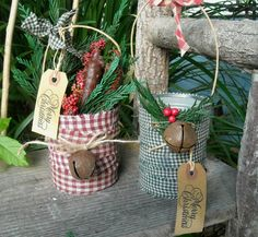 The Olde Country Cupboard: July 2009 Prim Christmas, Country Christmas, Homemade Christmas, Christmas Holidays, Tin Can Crafts, Christmas Projects, Holiday Crafts, Crafts With Tin Cans, Xmas Ornaments