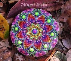 AUTUMN MANDALA-Hand Painted Stone