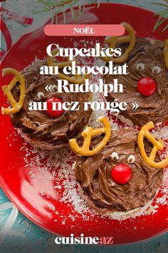 Préparez des cupcakes au chocolat pour la période de Noël ! Ici c'est le renne Rudolph au nez rouge. Cette pâtisserie chocolatée fera craquer vos enfants. #cupcakes #patiserie #chocolat #noel #cuisine #recette Nutella, 20 Min, Beef, Fruit, Desserts, Voici, Red Nose, Truffle, Cupcakes Kids