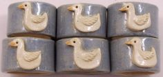 Set of 6 Hand Crafted Pottery Napkin Rings Applied White Duck Signed Dated 1984