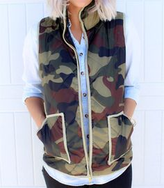 How could you ever pass up on such an amazing vest!! We all love vests and we all love camo, put the two together and you have this AMAZING Camo Puffer Vest!! Its extremely comfortable and made with a polyester fabric. Dress this bad boy up or down, the looks you will get with the dress are endless!!SIZESSmall-(2-4)Medium-(6-8)Large-(10-12)XL-(14-16)Model is a size 2 wearing a small!