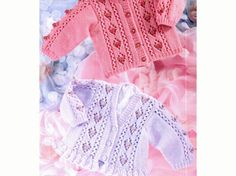 PDF Vintage Sirdar Baby Lace 'Roses' Frilly Cardigan Knitting Pattern, Preemie, Toddler, Children, Doll, Bobbles, Victoriana, Cottage Chic