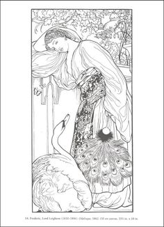 "iColor ""Masterpieces"" ~ Odalisque by Lord Frederick Leighton, 1862 Frederick Leighton, Paper Art, Paper Crafts, Pre Raphaelite, Famous Art, Coloring Book Pages, Art History, Outline, Paint Colors"