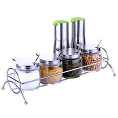 Kitchen seasoning box glass condiment bottle spice jar oiler soy sauce and vinegar cruet seasoning storage set #Affiliate