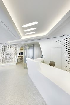 Slick and futuristic interiors of the Raiffeisen Bank's flagship offices in Zurich. A very cool way of banking!