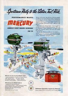 Vintage 1953 Kiekhaefer Mercury Outboard Boat Motor Fishing Print Ad
