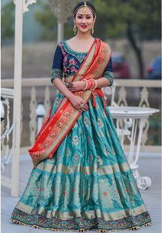 Firozi Banarasi Silk Lehenga Choli