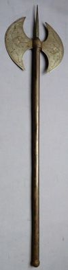 C.1800 Indo-Persian Double-Headed War Axe. A typical and good quality war axe used by Indo-Persian soldiers during the 1800's. With finely detailed and engraved floral decoration to the blades, with inlaid silver highlights. Mounted on an steel haft with bulbous finial. Length of the axe is 26.5 inches.
