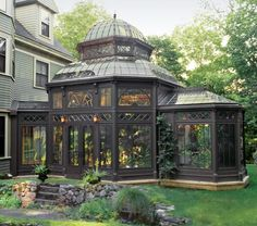 LIKES:  greenhouse as artful design for the building as much as function, attached to building with exterior access, seating areas as well as planting  Micoley's picks for #VictorianHomes www.Micoley.com