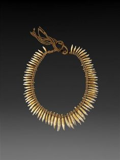 Brazil | Necklace | Tooth, String, vegetable fiber  | Height: 0.245 mWidth: 0.182 mDepth: 0.07 m | Paris, Quai Branly Museum