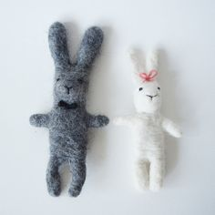 Technique: needle felt Materials: merino wool, wire  Wedding bunnies were made with needle felting. They can be used as gift, decoration or toy. It can be made in any kind of form, color, style. Let your imagination run free!  Dimensions: 21 cm - groom, 17 cm - bride