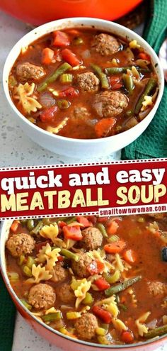 In need of a quick and easy winter dinner? This delicious soup is the perfect weeknight meal! You are going to love this comfort food that combines meatballs and pasta with vegetables and a hearty broth lightly seasoned with Italian spices. Pin this recipe for later! Easy Soup Recipes, Beef Recipes, Cooking Recipes, Top Recipes, Recipies, Italian Meatball Soup, Best Cornbread Recipe, Tasty Meatballs, Quick And Easy Soup
