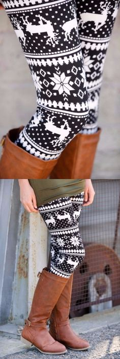 5d9228144 Stylish Women's High Waist Geometrical Print Christmas Leggings. Brown  Boots FashionChristmas LeggingsHomemade OrnamentsBoot SocksWholesale  ClothingPretty ...