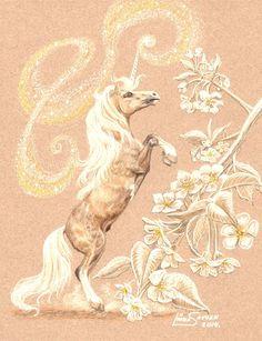 The Magic of Spring by on DeviantArt Unicorn Fantasy Myth Mythical Mystical Legend Licorne Enchantment Einhorn unicorno unicornio Единорог jednorožec Eenhoorn yksisarvinen jednorożca unicórnio Egyszarvú Kirin Unicorn Fantasy, Unicorn Art, Beautiful Unicorn, Magical Unicorn, Magical Creatures, Fantasy Creatures, Unicorn Tattoos, Winged Horse, Johanna Basford Coloring Book