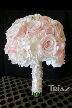 Rose and hydrangea pink bridal bouquet.