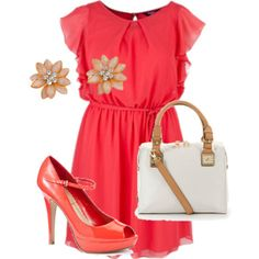 Coral Chiffon Paradise - Plus Size Outfit, created by pasazzplussizes on Polyvore...minus the heels. Don't want to break an ankle here.