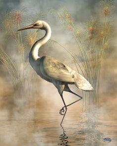 Egret Art Print featuring the digital art Egret by Daniel Eskridge