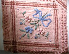 Vintage Chenille Square, Thick, Tufted Chenille Flowers