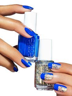 mod metal - Essie tutorial on the hottest blue and silver metallic nails Nail Polish Art, Essie Nail Polish, New Nail Art, Nail Art Diy, Nail Polish Colors, Winter Nail Designs, Gel Nail Designs, Metallic Nails, Silver Glitter