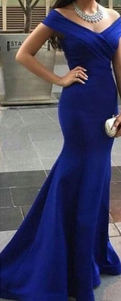 Gorgeous Royal Blue Floor Length Mermaid Style Off the Shoulder Prom Dress
