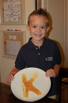 First day of school tradition - pancakes in the shape of the grade level :)