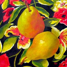 Marina Petro ~ Adventures In Daily Painting: Camouflage 11-Fruit Floral Still Life Oil Painting by Marina Petro