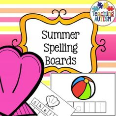 Summer Spelling and Handwriting Practice Includes color and black and white option for each board.* ball* tree* sun* boat* shell* waves* castle* shovel* bucketEach comes in 3 difficulty levels; spelling with prompts, over handwriting and blank which can either be used as spelling with no prompts or independent writing/spelling.On each page there are letters to cut out and laminate.
