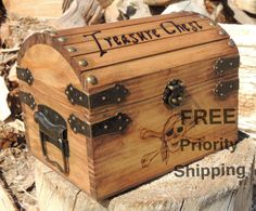 Custom Pyrography Treasure Chest with Gold Coins This treasure chest is a made to order item. It can be hand burned with the words Treasure Chest