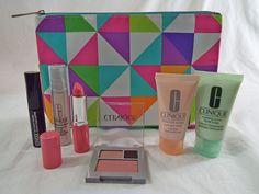 Clinique 7 Piece Compact, Matte Petal Lipstick, Mascara, Smart, Bag, Mask, Soap #Clinique