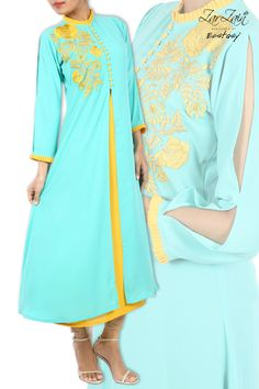 Cyan And Goldenrod Embroidery Dual Layered  kameez . Barcode :347550900844. Price : BDT 3930.