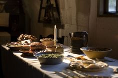 A peasants christmas table, 18th century (reconstruction at the Open Air Museum), Denmark