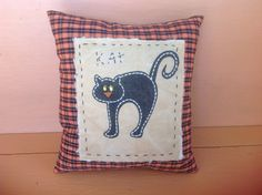 Primitive cat pillow Fall decoration Cat pillow by MyOldeThings, $13.75