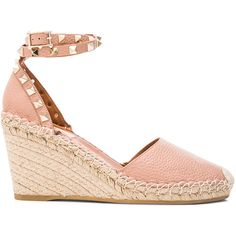 Valentino Rockstud Double Wedges ($895) ❤ liked on Polyvore featuring shoes, sandals, heels, crochet sandals, wrap sandals, heeled sandals, metallic platform sandals and wedge espadrilles
