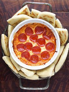 Pizza dip is a perfect Football watching snack.