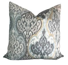 Gray pillow cover Blue pillow Gray throw pillow Decorative pillow Accent pillow Damask pillow Sham Toss pillow 6 sizes available Square Pillow Covers, Grey Pillow Covers, White Throw Pillows, Blue Pillows, Toss Pillows, Accent Pillows, Decorative Throw Pillows, Cover Pillow, Blue Couches