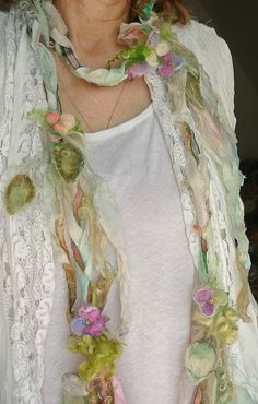 scarf enchanted forest silk luxury fiber art by beautifulplace
