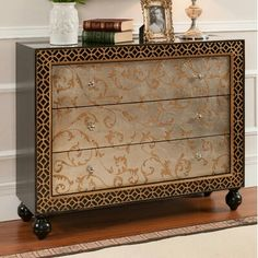 Matallic stenciled chest ~ Louise May Heath Owner and Operator of LuxTouch Vintage Furniture & Decor #LuxTouch