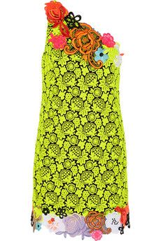 Christopher Kane Neon guipure lace and cady mini dress | NET-A-PORTER