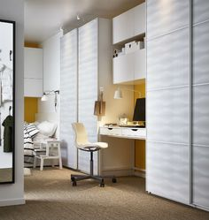 Furnishing around your wardrobes is easier with sliding doors, since they don't open into the room.