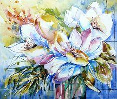 https://flic.kr/p/eiyQ7h | bouquet-blanc-toile | Aquarelle peinte sur chassis entoilé