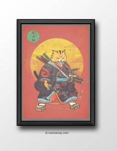 "<b>Cat025-+9+swords+cat+return+</b>  According+to+the+myth,+it+says+that+a+samurai+cat+have+nine+lives,+each+represent+by+one+sword. <a+href=""http://xiaobaosg.storenvy.com/products/17515052-carpe-diem"">For+seize+the+day</a>  Size:+<b>A3+or+A4+250GSM+Texture+paper</b> Each+print+will+be+sign..."