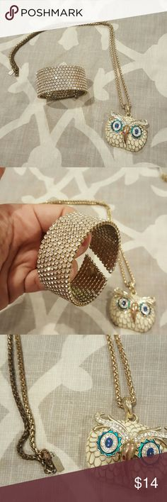 ????BUNDLE ???? Owl Necklace and a bracelet In good used condition. Only wore bracelet once, it's gold with clear crystal and it is flexible. The necklace has been worn several times and has visible tarnishing at the clasp area as shown in photo. Take this set off my hands! Jewelry