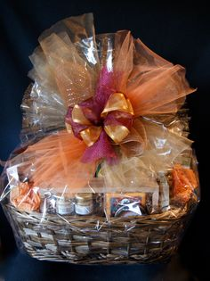 Corporate gift basket with marketing materials see coffee mug on seasonal decoration on extra large gourmet gift basket designed for wellington florist negle Gallery