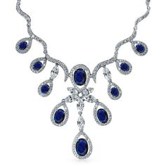 Victorian Teardrop Sapphire Color CZ Gatsby Inspired Necklace 16in ($90) ❤ liked on Polyvore featuring jewelry, necklaces, bridal necklace, sapphire teardrop necklace, vintage bridal necklace, vintage necklace and blue necklace