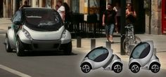 Fully electric vehicle able to collapse into a more compact shape when parking. Cool for the POD people. Ha