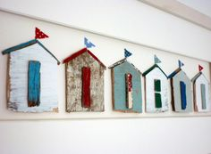 line of seaside bathing huts ~ flat pieces of reclaimed wood, painted & framed | by Sixty-one A
