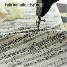 Music Score Cotton Linen Fabric- Piano Music Notes Instrument Panel Fabric…