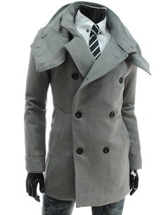 Slim Fit Double Breasted Removable Collar Wool Coat - Unbuttoned