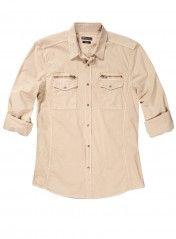 Fermuar Cepli Likralı Gömlek Slim Fit Uzun Kol Taş Rengi